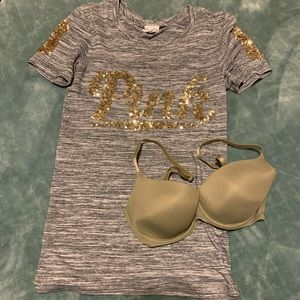 Victoria's Secret PINK shirt and bra bundle